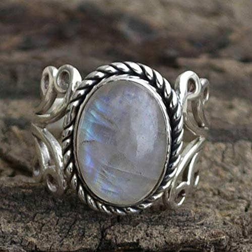 - Dokis 925 Silver Ring Woman Man White Fire Opal Moon Stone Wedding Engagement Size6-10 | Model RNG - 4019 | 9