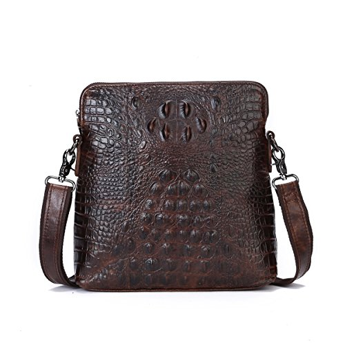 Cowhide Leather Skin Case (Itslife Men's Cowhide Leather Alligator Pattern Shoulder Bag)