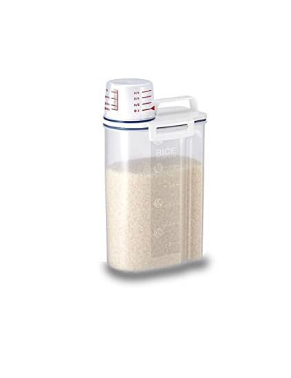 Rice Storage Bin Container Box With Pour Spout And A Measuring Cup, Plastic  Food Keeper