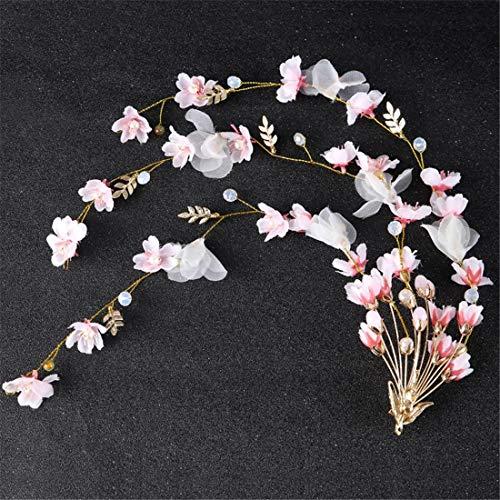 MATCHANT Peach Flower Hairpin Pink Flower Hair Band Bridal Tiara Hair Accessories (Color : Pink)
