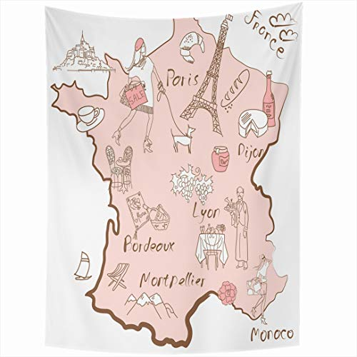 Ahawoso Tapestry 50x60 Inch Geography Pink Paris Map France Things That Wine Different Tower Vintage Drawing Eiffel Design Nation Wall Hanging Home Decor for Living Room Bedroom Dorm