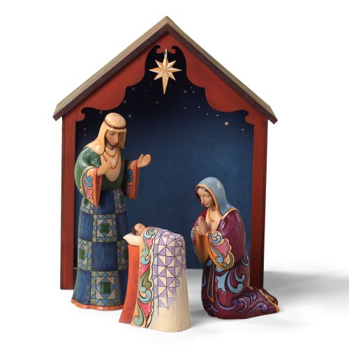 Enesco Jim Shore Heartwood Creek Holy Family with Stable 4-Piece Nativity Figurine