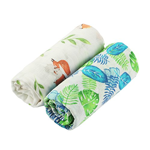 Muslin Swaddle Blanket Baby Receiving Blanket 2 Pack Tropical Leaves & Fox Print Baby Shower Gift for Boys Swaddle wrap 47x47inch