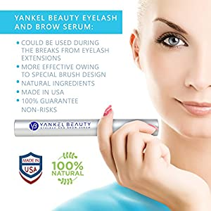 Eyelash Growth Serum - Eyelash Serum For Thicker, Stronger & Longer Eyelashes And Eyebrows - Enhancing Eyelash Conditioner By Yankel Beauty – All Natural Eyelash Treatment For Lashes & Brows