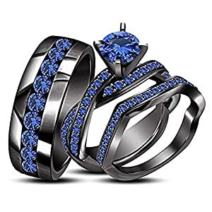 Beautiful Round Blue Sapphire Stone 18K Black Gold FN Alloy His & Her Trio Ring Set For Love Gift