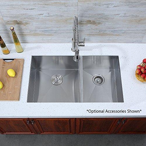 Decor Star H-003-Z 33 Inch x 20 Inch Undermount Offset Double Bowl 16 Gauge Stainless Steel Luxury Handmade Kitchen Sink Zero Radius by Decor Star (Image #4)