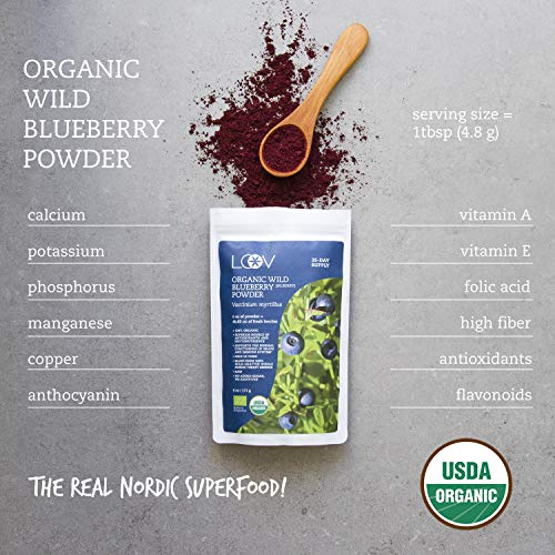 Organic Wild Blueberry Powder, wild-crafted from Nordic forests, 100% whole fruit blueberry, 35-day supply, 6 oz, freeze-dried and powdered wild blueberries, high in anthocyanins, free recipe book by LOOV (Image #5)