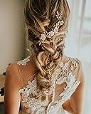 SWEETV Gold Bridal Headband Pearl Hair Vine Band Wedding Halo - Handmade Women Hair Accessories