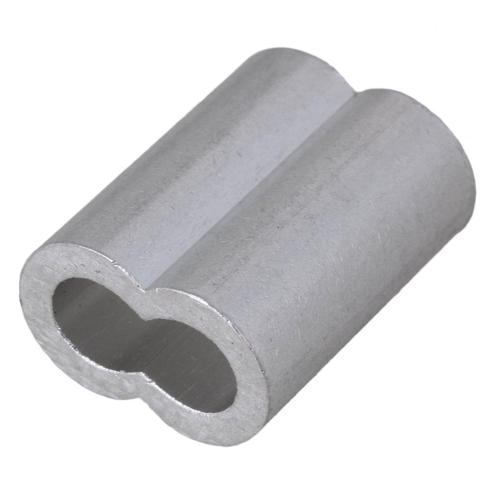 BQLZR 6mm Silver M6 Double Ferrules Aluminum Crimping Loop Sleeve ...