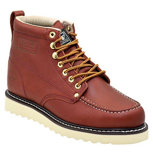 Golden Fox Steel Toe Men's Lightweight Work Boots Moc Toe Boot Insulated (9 D(M) US, Redwood)