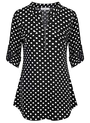Dye Tie Heart Dress - Ninedaily Black White Polka Dot Shirt, Blouses for Women Fashion 2018 Work Color Block Tops Layered Tie Dye Printed New Years Gift Christmas Spring Tee Romantic Dressy Tunics Slim Fit Pretty Size S