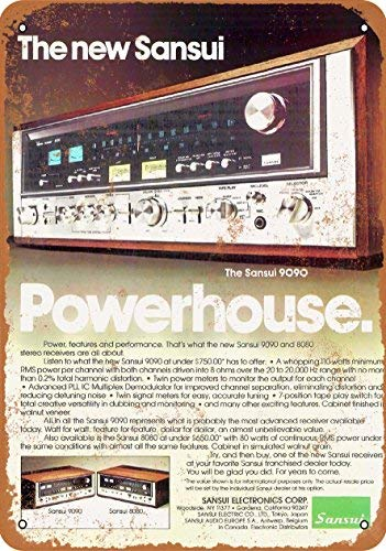 (ACOVE 1976 Sansui 9090 Receivers Vintage Look Metal Tin Sign - 10x14 inch)