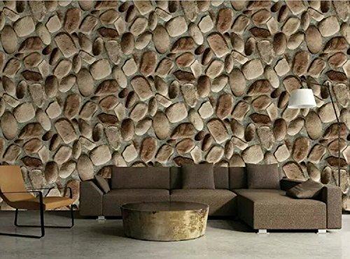 (7Buy Modern Minimalist Faux Cobblestone Wallpaper 3D Effect Stone Pattern Vinyl Waterproof Wallcoverings for Home Walls Bedroom Decoration 20.8