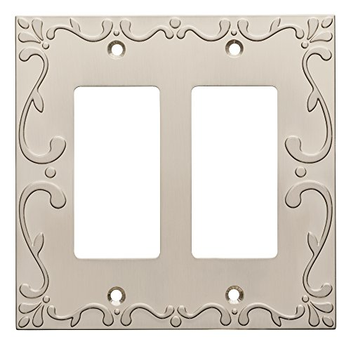 Franklin Brass W35077-SN-C Classic Lace Double Decorator Wall Plate/Switch Plate/Cover, Satin Nickel