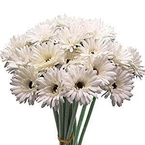 cn-Knight Artificial Flower 12pcs 22'' Long Stem Silk Daisy Faux Mums Flower Chrysanth Gerbera for Wedding Bridal Bouquet Bridesmaid Home Decor Office Baby Shower Prom Centerpiece(Snow-White) 88