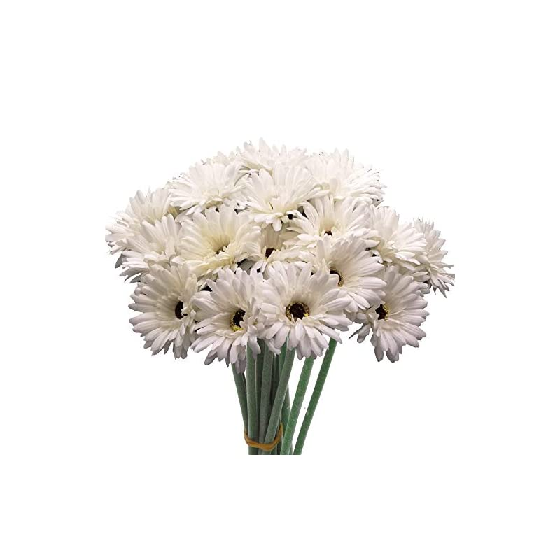 silk flower arrangements cn-knight artificial flower 12pcs 22'' long stem silk daisy faux mums flower chrysanth gerbera for wedding bridal bouquet bridesmaid home decor office baby shower prom centerpiece(snow-white)