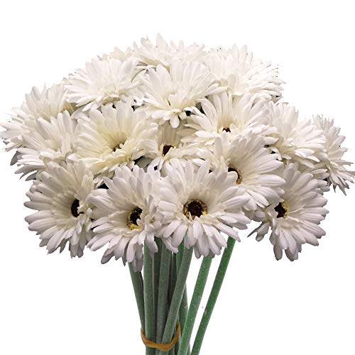 cn-Knight Artificial Flower 12pcs 22'' Long Stem Silk Daisy Faux Mums Flower Chrysanth Gerbera for Wedding Bridal Bouquet Bridesmaid Home Decor Office Baby Shower Prom Centerpiece(Snow-White)