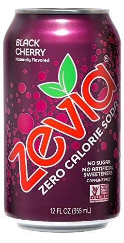 - Zevia Zero Calorie Soda Can, Black Cherry, Naturally Sweetened Soda, Black Cherry-flavored Carbonated Soda, Refreshing, Full of Flavor and Delicious with No Sugar, 12 Fl Oz, Pack of 24
