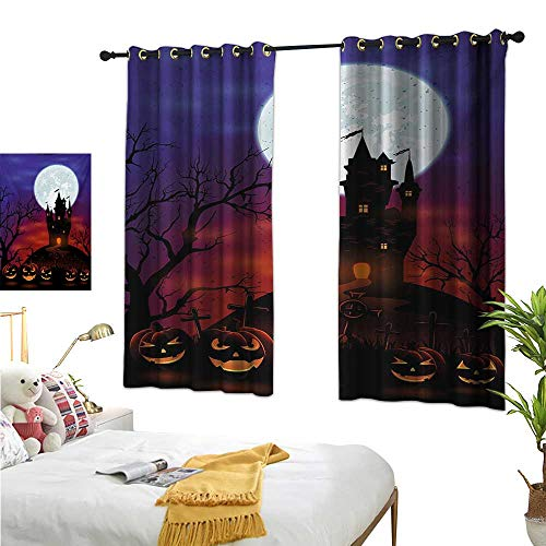 Superlucky Thermal Insulating Blackout Curtain,Halloween,63