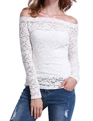 Mosocow Women's Floral Lace Off Shoulder Stretchy Fit Top Blouse White L