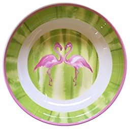 Cynthia Rowley Pink Flamingo Melamine Soup Cereal Bowls Set of 4