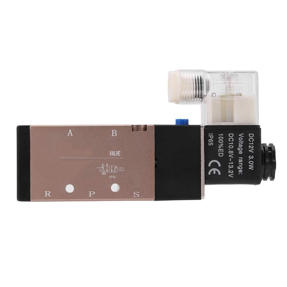 1pc 1.2Mpa Electric Solenoid Magnetic Air Valve 5 port 2 position 3/8' DC12V AC110V AC220V (DC 12V) Hilitand