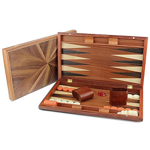 17' Large Classic Backgammon Set Brown Wooden Portable Travel Folding Case