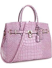 Womens Top Handle Satchel Handbags Designer Tote Purse Shoulder Bag Faux Leather Padlock Briefcase Laptop Bag