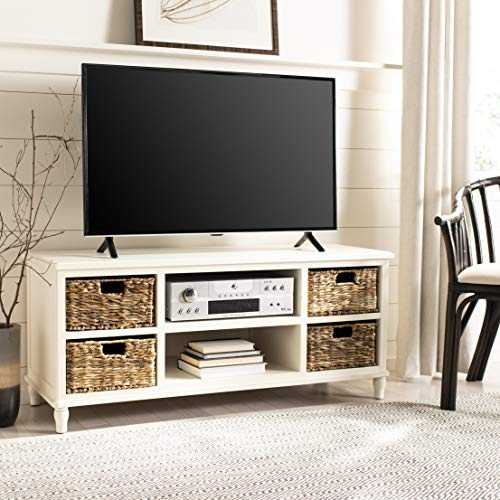 Safavieh American Homes Collection Rooney Distressed White Entertainment Unit (Country Units Style Entertainment)
