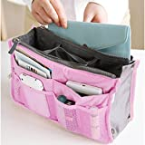 Bluetime 13 Pockets Bag in Bag Travel Handbag Organizer Purse Insert Organizer Diaper Tote Bags with Handles (12 Colors) (Pink)