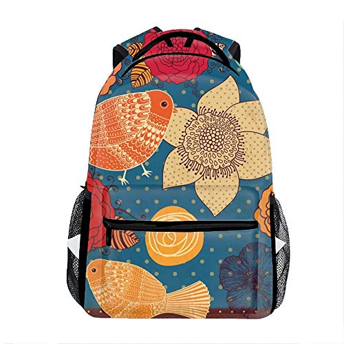 Colorful Floral School Travel Backpack for Boys Waterproof ()
