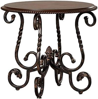 Metal End Table 4 Scrolled Feet - End Table Wood Top - Brown