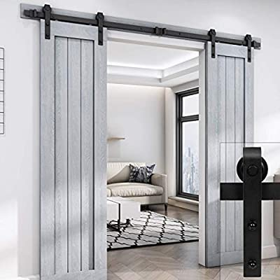 Classic J Double Sliding Barn Wood Door Hardware