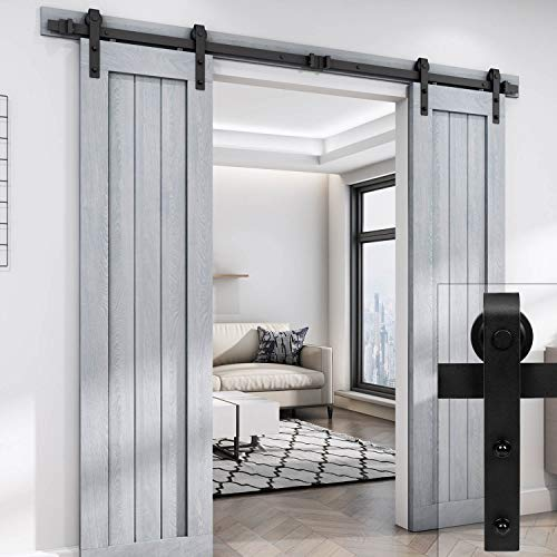 "EaseLife 8 FT Double Door Sliding Barn Door Hardware Track Kit,Heavy Duty,Easy Install,8FT One Piece Track,Slide Smoothly Quietly,Fit Double 24"" Wide Door (8FT Track Double Door Kit)"