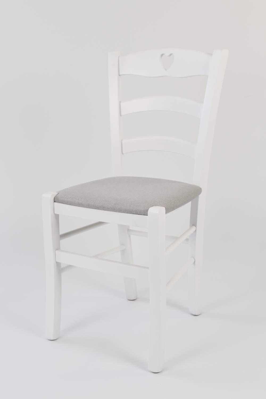 Tommychairs Struttura Robusta in Legno di faggio Laccato Bianco e Seduta Imbottita e Rivestita con Tessuto Grigio Perla Set 2 sedie Cuore 38 per Cucina e Sala da Pranzo