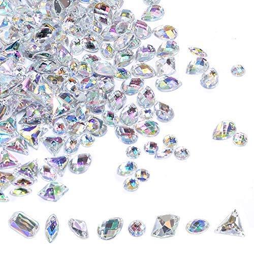 400 PCS Sew On Rhinestones Flatback AB Clear Gems Sew On Crystal Gems AB Acrylic for DIY Project Clothing Dress Decorations by Lanpu
