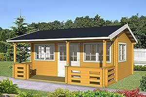 Casa para jardín RICHARD 70 de madera, 575 x 385 cm, 70 mm, casa vacacional: Amazon.es: Jardín