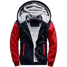 Men Jacket, Gillberry Men Winter Warm Fleece Hood Zipper Sweater Jacket Outwear Coat (Red, (US)M=Asian L)