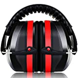 Ear Defenders for Adults and Kids, ECHTPower 34dB SNR Safety Ear Muffs, Hearing Protectors, Folding Ear Defenders for Shooting, Hunting, Construction, Reading, Working (Red)