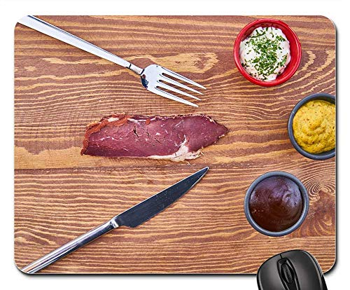 Mouse Pad - Bacon Meat Protein Raw Healthy Fork Knife Food