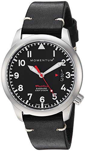 Momentum Women's 'Flatline 36' Quartz Stainless Steel and Leather Casual Watch, Color:Black (Model: 1M-SP19BS2B)