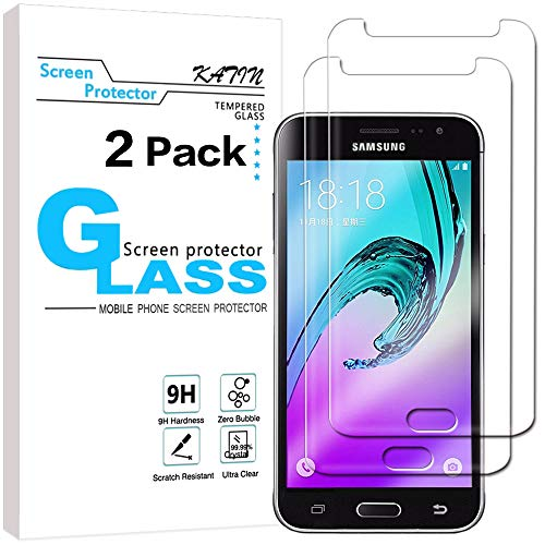 KATIN Galaxy J3 2016 Screen Protector - [2-Pack] For Samsung Galaxy J3 2016 Version / J3 V Tempered Glass [Not For J3 Prime] 9H Hardness with Lifetime Replacement