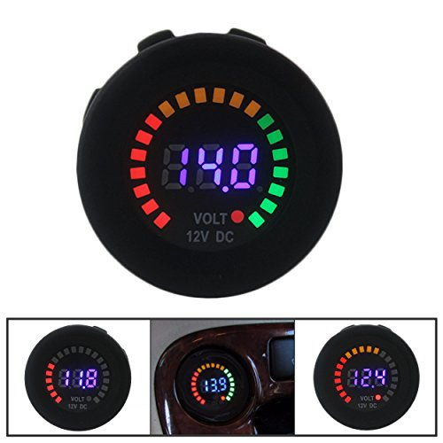 IZTOSS Car Motorcycle Waterproof Blue LED Digital Panel Display Voltmeter Voltage Volt Meter Gauge DC 12V-24V