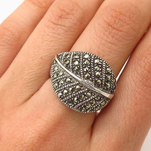 - 925 Sterling Silver Vintage Real Marcasite Leaf Design Ring Size 6 3/4 Jewelry by Wholesale Charms
