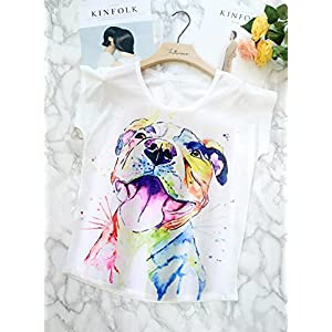 Futurino Women's Summer Colourful Ink Pit Bull Dog Print Loose Sleeve T-Shirt (L, Smiling Pit Dog)