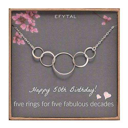 Birthday 50th Gifts - EFYTAL 50th Birthday Gifts for Women, Sterling Silver Five Circle Necklace for Her 5 Decade Jewelry 50 Years Old