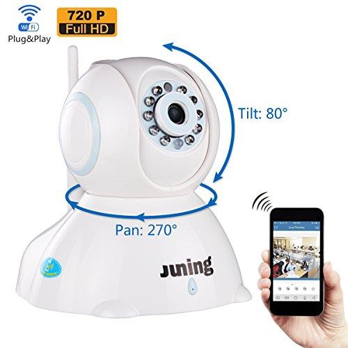 (JUNING Baby Monitor - Security Camera Home WiFi Wireless IP Camera 720P HD Pan Tilt - Day/Night Vision,2 Way Audio,SD Card Slot, Alarm)