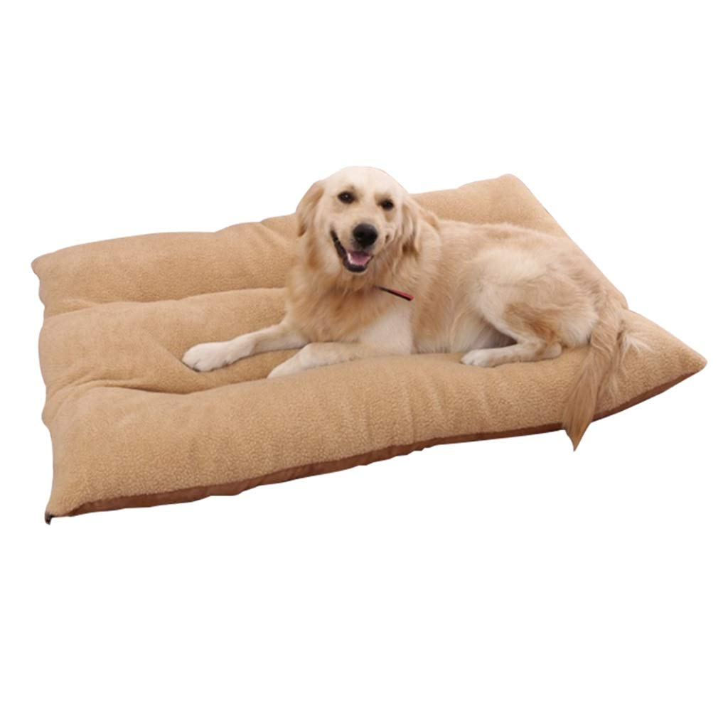 L 100×65×15cm Qz Large Deluxe Dog Bed Mat with Removable Washable Cover, for Pet Cat, Brown (Size   L 100×65×15cm)