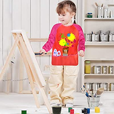 Dreampark 2 Pack Children Art Smock Kids Art Aprons with Waterproof Long Sleeve 3 Roomy Pockets, Ages 2-6, Red and Blue (Paints and Brushes not Included): Toys & Games
