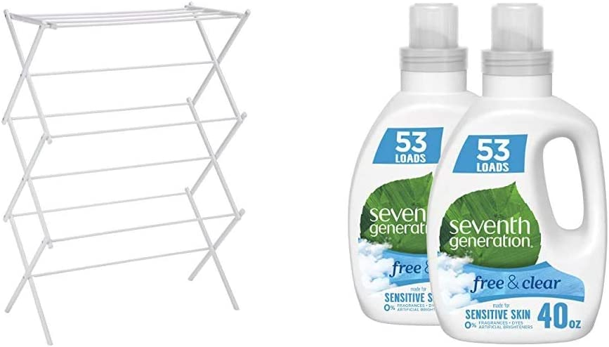 AmazonBasics Foldable Clothes Drying Laundry Rack - White & Seventh Generation Concentrated Laundry Detergent, Free & Clear Unscented, 40 oz, Pack of 2 (106 Loads)
